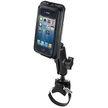 RAM Mounts vodotěsný držák na malé telefony na motorku nebo na kolo na řídítka, Ø objímky 12,7-31,75 a 40-80 mm, AQUABOX® Pro 10, sestava RAM-B-149Z-2-AQ7-1CU