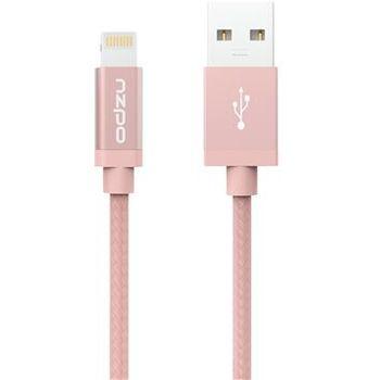 Odzu odolný textilní kabel s Lightning konektorem, růžový