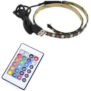 LED pásek 50cm, do USB, 15 diod, dálkový ovladač, 20 barev, samolepící