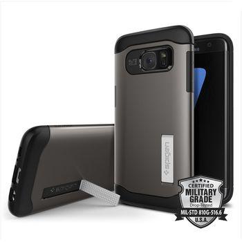 Spigen pouzdro Slim Armor pro Galaxy S7 edge, kovově šedé