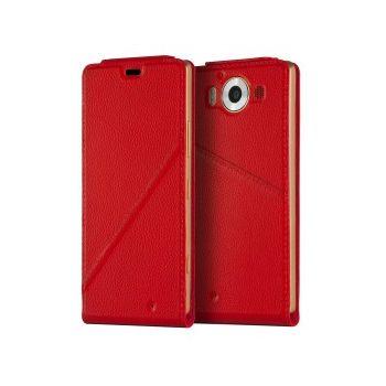 Mozo flipové pouzdro pro bezdrátové nabíjení pro Lumia 950, červené
