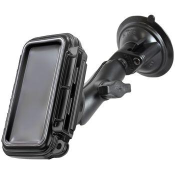 RAM Mounts voděodolné pouzdro AQUABOX™ malé do auta s extra silnou přísavkou na sklo, sestava RAM-B-166-AQ3U