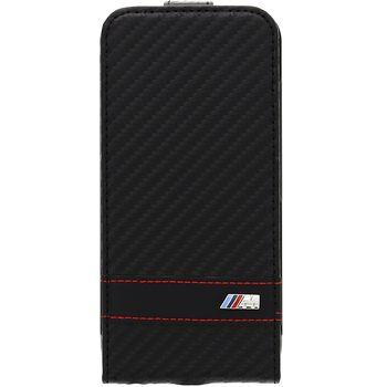 BMW vertikální flipové pouzdro M Collection Carbon Effect pro iPhone 6 4.7, černé