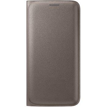 Samsung flipové pouzdro s kapsou EF-WG925PF pro Galaxy S6 Edge, imitace kůže, zlatá