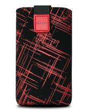 Fixed pouzdro Velvet s motivem Red Stripes, velikost L, červená