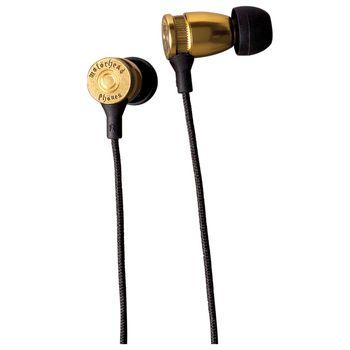Sluchátka Motörheadphönes Overkill s mikrofonem (mosaz) + Pouzdro Burner L (černá/červená)