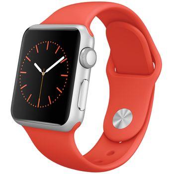 Apple Watch Sport 38mm, stříbrné, oranžový pásek