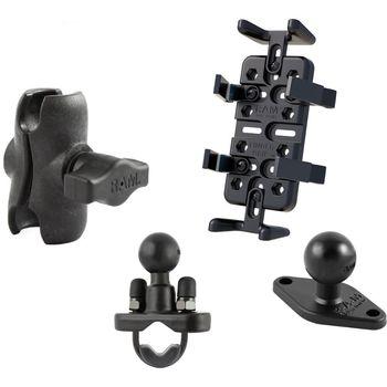 RAM Mounts univerzální držák na mobilní telefony, vysílačky, GPS navigace Finger-Grip s krátkým ramenem a s úchytem na řídítka nebo tyč o Ø12,7-31,75 mm, sestava RAM-B-149Z-UN4-AU