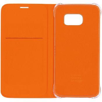 Samsung kožené flipové pouzdro EF-WG925BOE pro Galaxy S6 Edge G925, oranžové