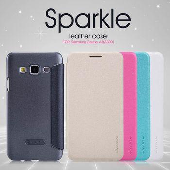 Nillkin flipové pouzdro Sparkle S-View pro Samsung Galaxy A3, bílá
